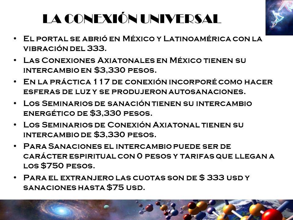 LA CONEXIÓN UNIVERSAL El portal se abrió en México y Latinoamérica con la vibración del 333. Las Conexiones Axiatonales en México tienen su intercambi