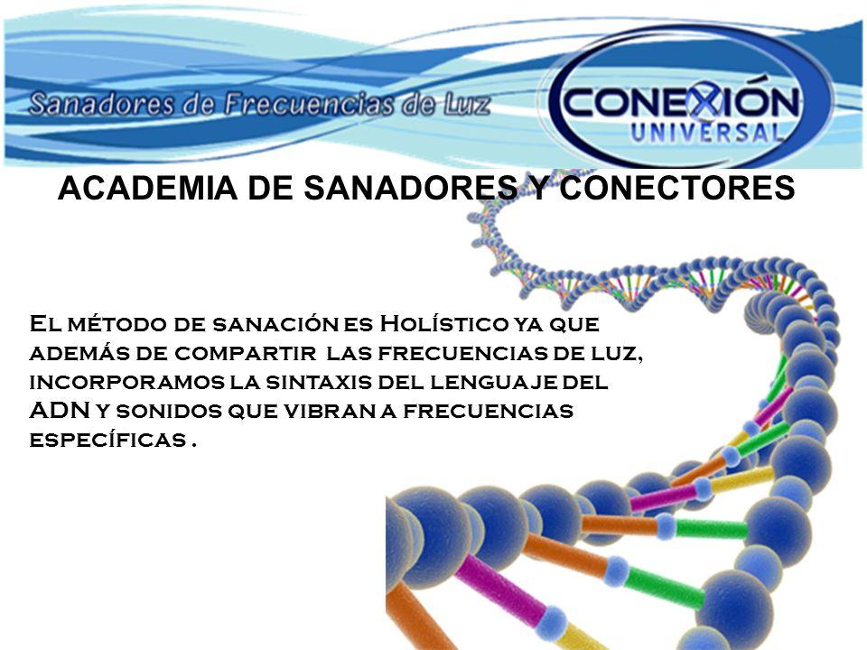 El método de sanación es Holístico ya que además de compartir las frecuencias de luz, incorporamos la sintaxis del lenguaje del ADN y sonidos que vibr