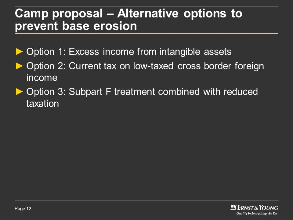 Page 12 Camp proposal – Alternative options to prevent base erosion Option 1: Excess income from intangible assets Option 2: Current tax on low-taxed