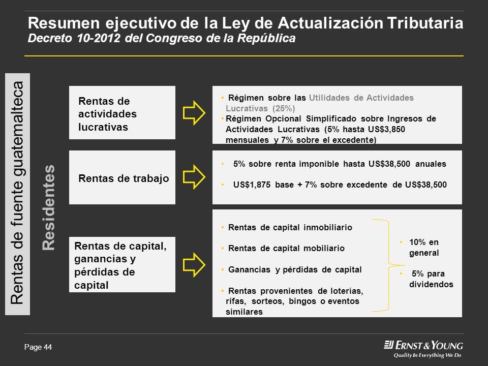 Page 44 Rentas de fuente guatemalteca Residentes Rentas de actividades lucrativas Régimen sobre las Utilidades de Actividades Lucrativas (25%) Régimen