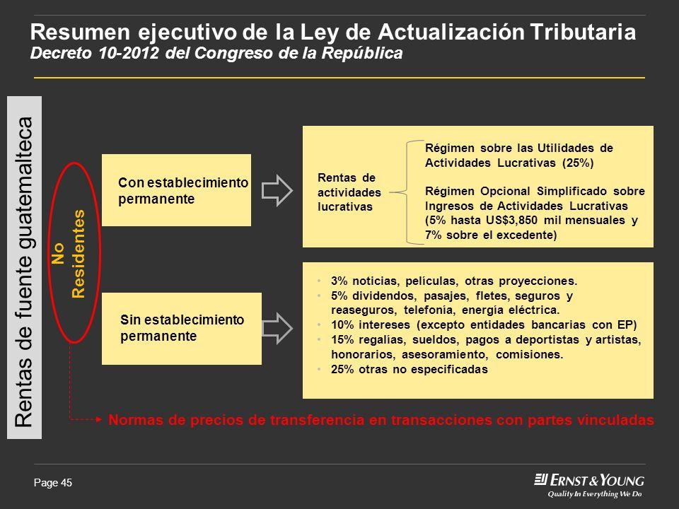 Page 45 Rentas de fuente guatemalteca No Residentes Rentas de actividades lucrativas Régimen sobre las Utilidades de Actividades Lucrativas (25%) Régi