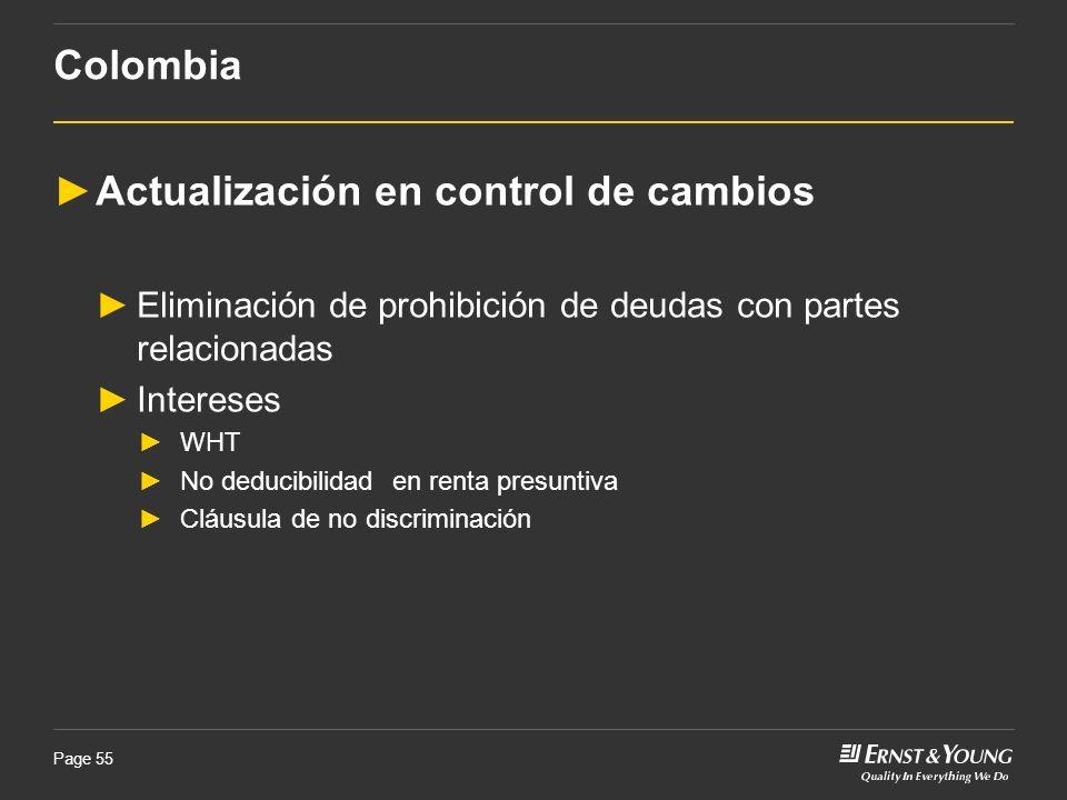 Page 55 Actualización en control de cambios Eliminación de prohibición de deudas con partes relacionadas Intereses WHT No deducibilidad en renta presu