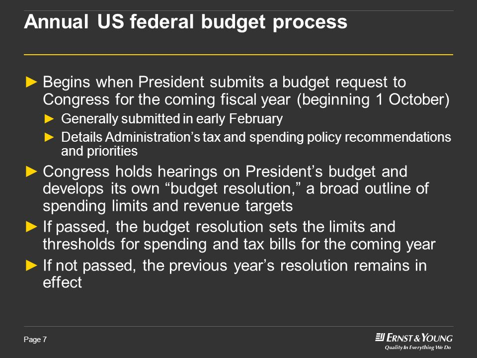 Page 7 Annual US federal budget process Begins when President submits a budget request to Congress for the coming fiscal year (beginning 1 October) Ge