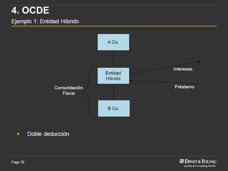 Page 78 A Co. Entidad Híbrido B Co. Intereses 4. OCDE Ejemplo 1: Entidad Híbrido Préstamo Consolidación Fiscal Doble deducción