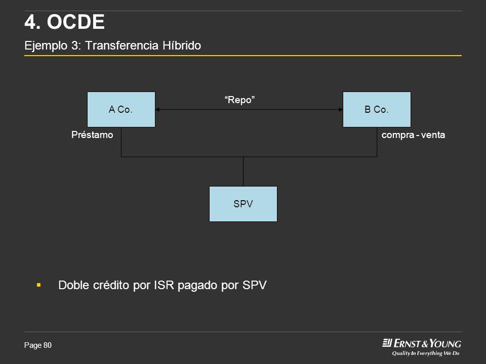 Page 80 A Co.B Co. Préstamo 4. OCDE Ejemplo 3: Transferencia Híbrido Doble crédito por ISR pagado por SPV SPV compra - venta Repo