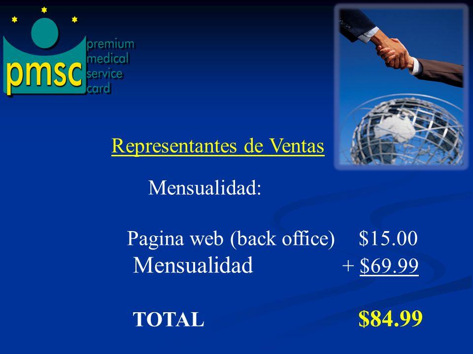 FRANQUISIA, CERTIFICACION Y ADIESTRAMIENTO----$140.00 PAGINA WEB (BACK OFFICE)-------------------------------------$ 15.00 MEMBRECIA-----------------------------------------------------------$ 75.00 MENSUALIDAD------------------------------------------------------- $ 69.99 TOTAL $ 299.99