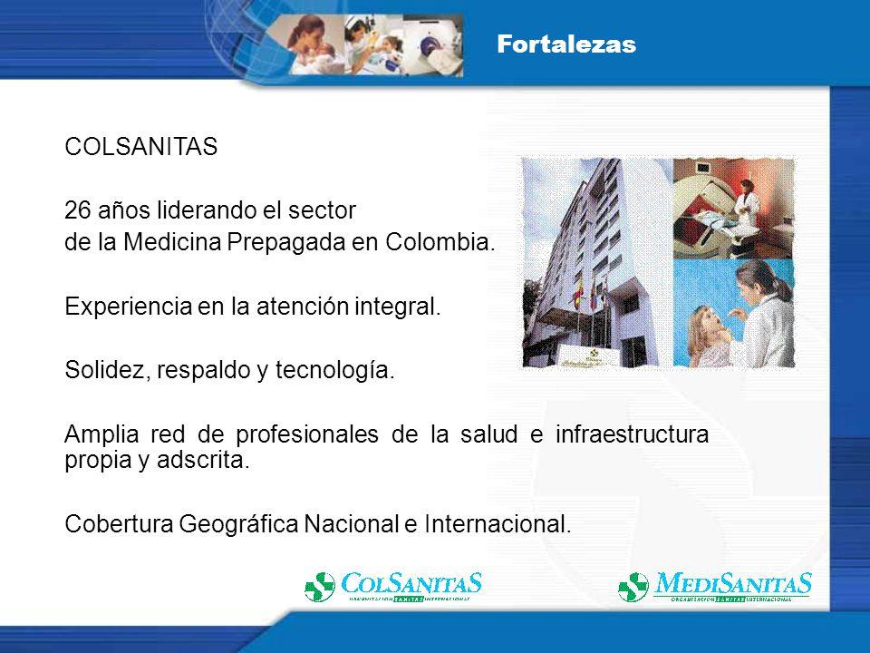 COLSANITAS 26 años liderando el sector de la Medicina Prepagada en Colombia. Experiencia en la atención integral. Solidez, respaldo y tecnología. Ampl