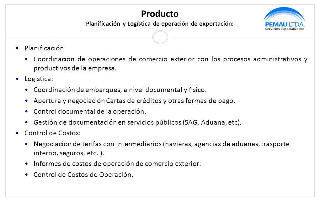 Producto Planificación y Logística de operación de exportación: Planificación Coordinación de operaciones de comercio exterior con los procesos administrativos y productivos de la empresa.