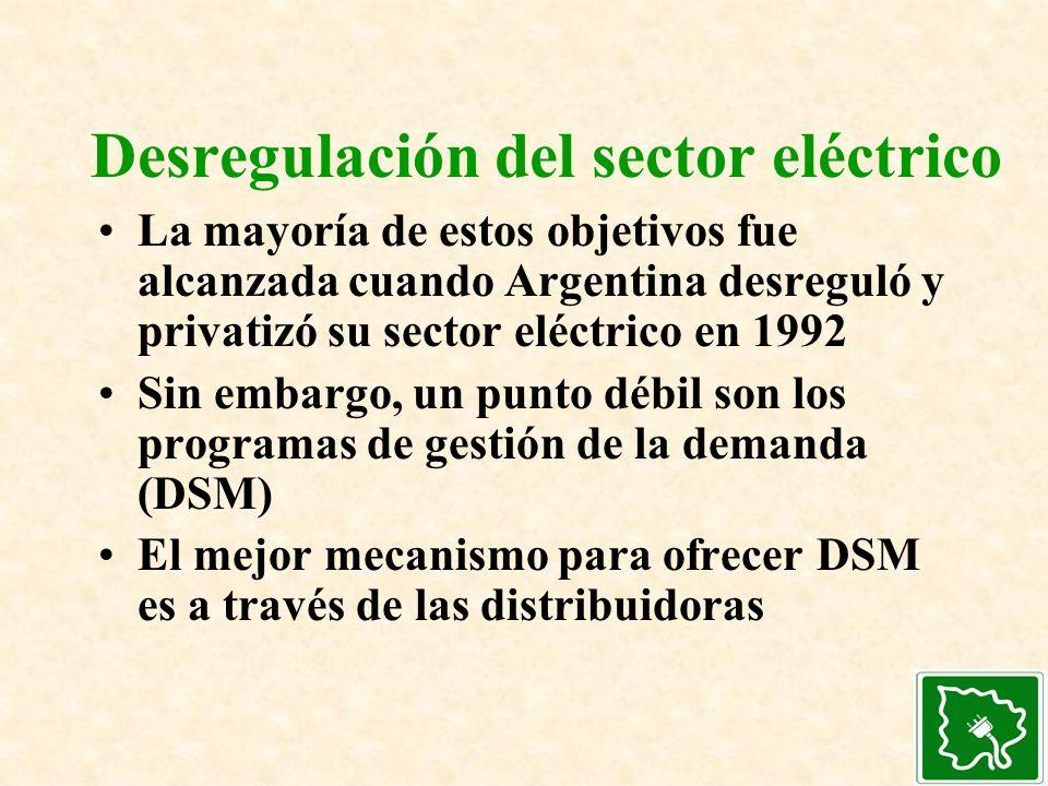 Desregulación del sector eléctrico La mayoría de estos objetivos fue alcanzada cuando Argentina desreguló y privatizó su sector eléctrico en 1992 Sin