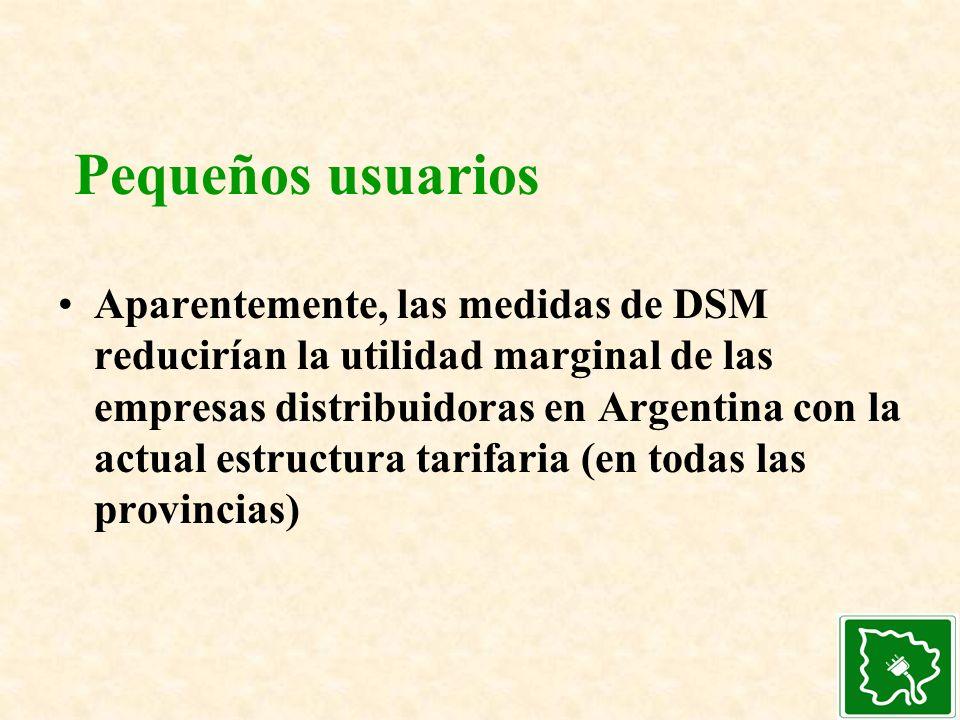 Pequeños usuarios Aparentemente, las medidas de DSM reducirían la utilidad marginal de las empresas distribuidoras en Argentina con la actual estructu