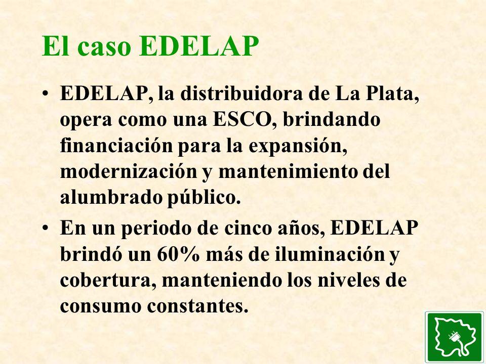 El caso EDELAP EDELAP, la distribuidora de La Plata, opera como una ESCO, brindando financiación para la expansión, modernización y mantenimiento del