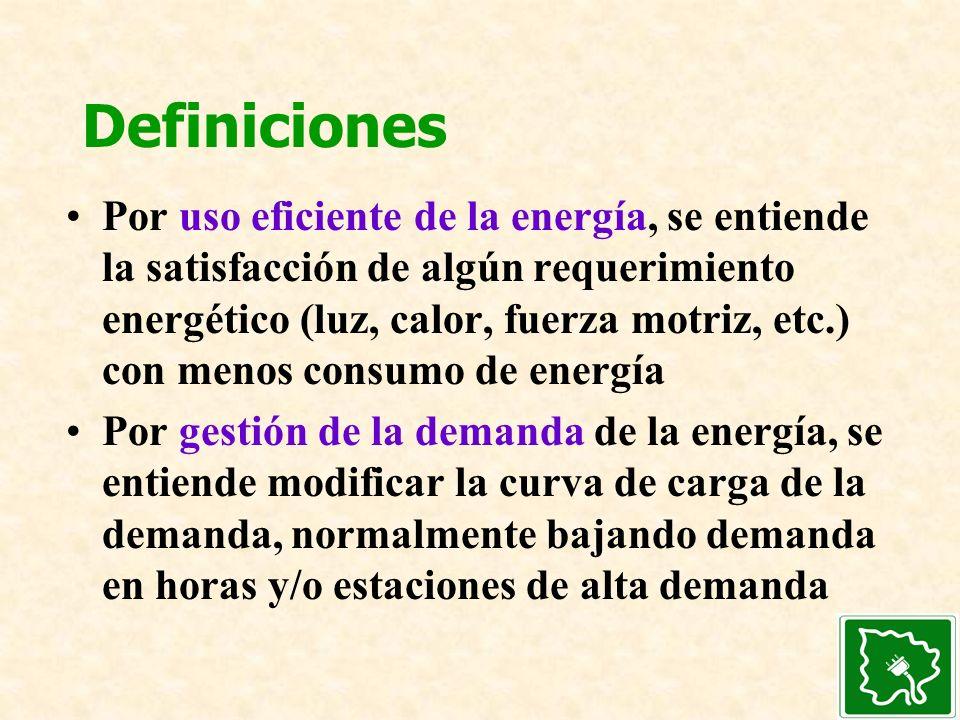 Definiciones Por uso eficiente de la energía, se entiende la satisfacción de algún requerimiento energético (luz, calor, fuerza motriz, etc.) con meno