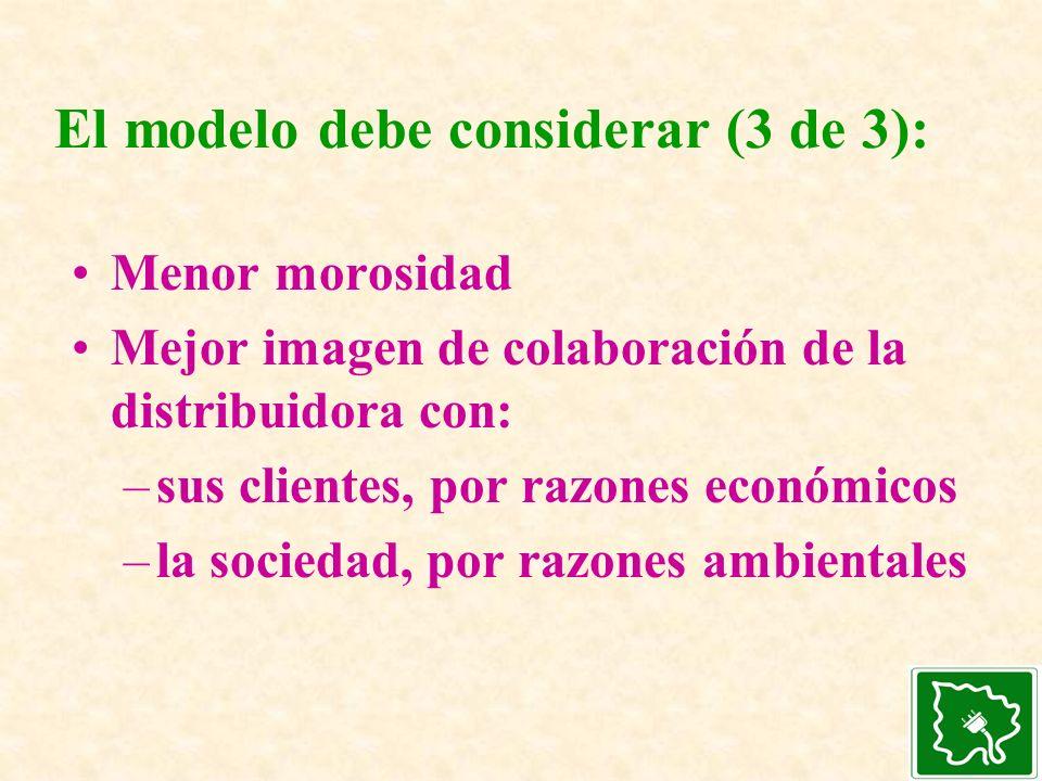 El modelo debe considerar (3 de 3): Menor morosidad Mejor imagen de colaboración de la distribuidora con: –sus clientes, por razones económicos –la so