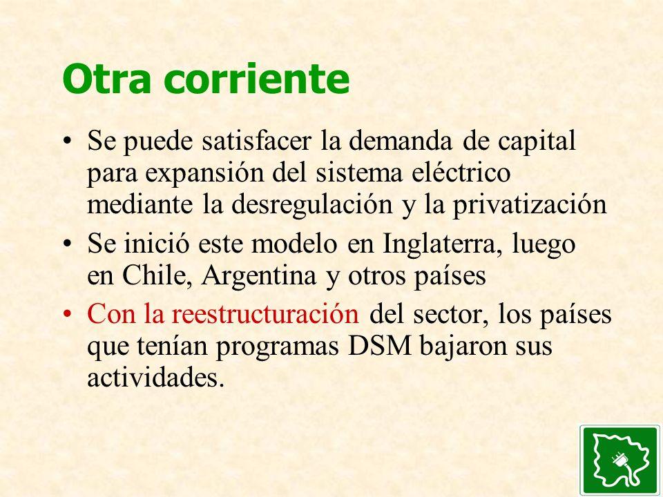 Otra corriente Se puede satisfacer la demanda de capital para expansión del sistema eléctrico mediante la desregulación y la privatización Se inició e