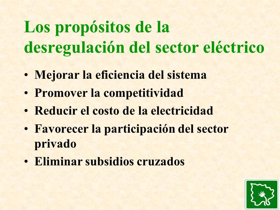 Los propósitos de la desregulación del sector eléctrico Mejorar la eficiencia del sistema Promover la competitividad Reducir el costo de la electricid