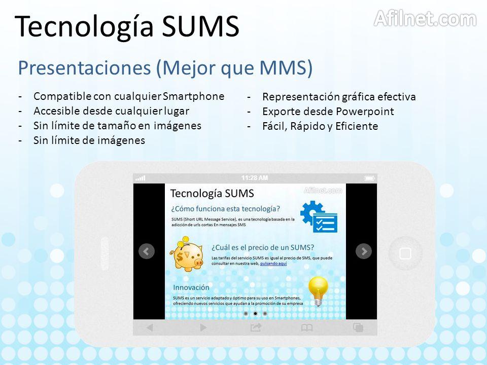 Tecnología SUMS Presentaciones (Mejor que MMS) -Compatible con cualquier Smartphone -Accesible desde cualquier lugar -Sin límite de tamaño en imágenes