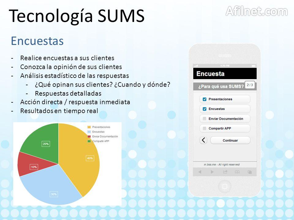 Tecnología SUMS Encuestas -Realice encuestas a sus clientes -Conozca la opinión de sus clientes -Análisis estadístico de las respuestas -¿Qué opinan s