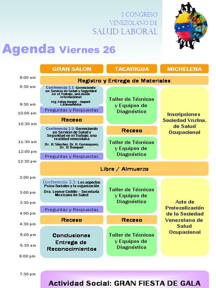 Agenda Viernes 26 I Congreso Venezolano de Salud Laboral Conferencia 3.1: Gerenciando un Servicio de Salud y Seguridad en el Trabajo, una visión inter