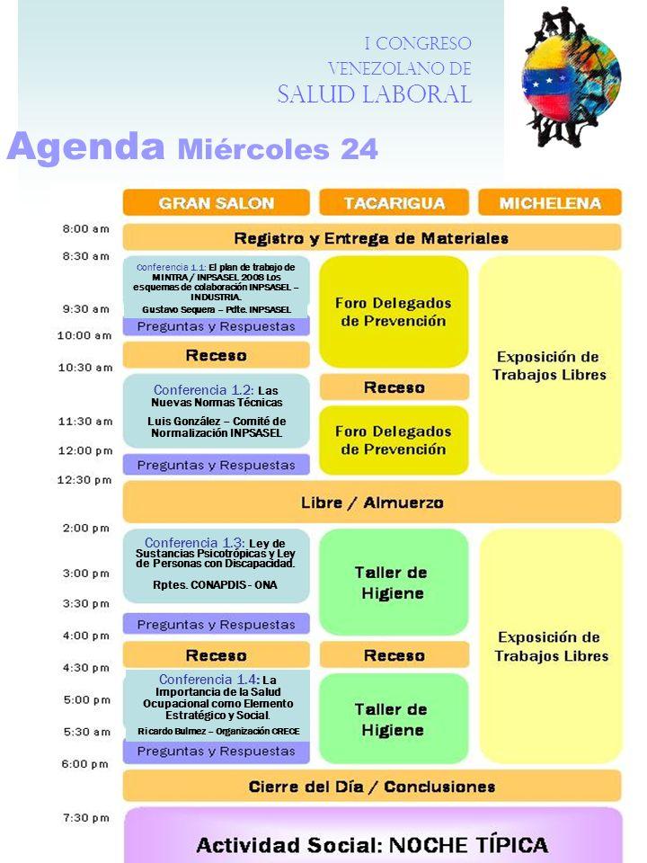 Agenda Miércoles 24 I Congreso Venezolano de Salud Laboral Conferencia 1.1: El plan de trabajo de MINTRA / INPSASEL 2008 Los esquemas de colaboración