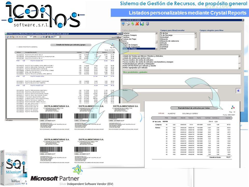 Sistema de Gestión de Recursos, de propósito general Listados personalizables mediante Crystal Reports