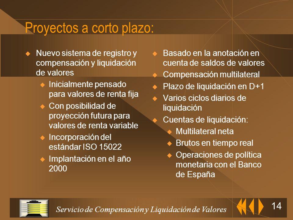 Servicio de Compensación y Liquidación de Valores 13 Traspasos de valores u Entregas libres y contra pago de efectivos Cambios de titularidad u Operac