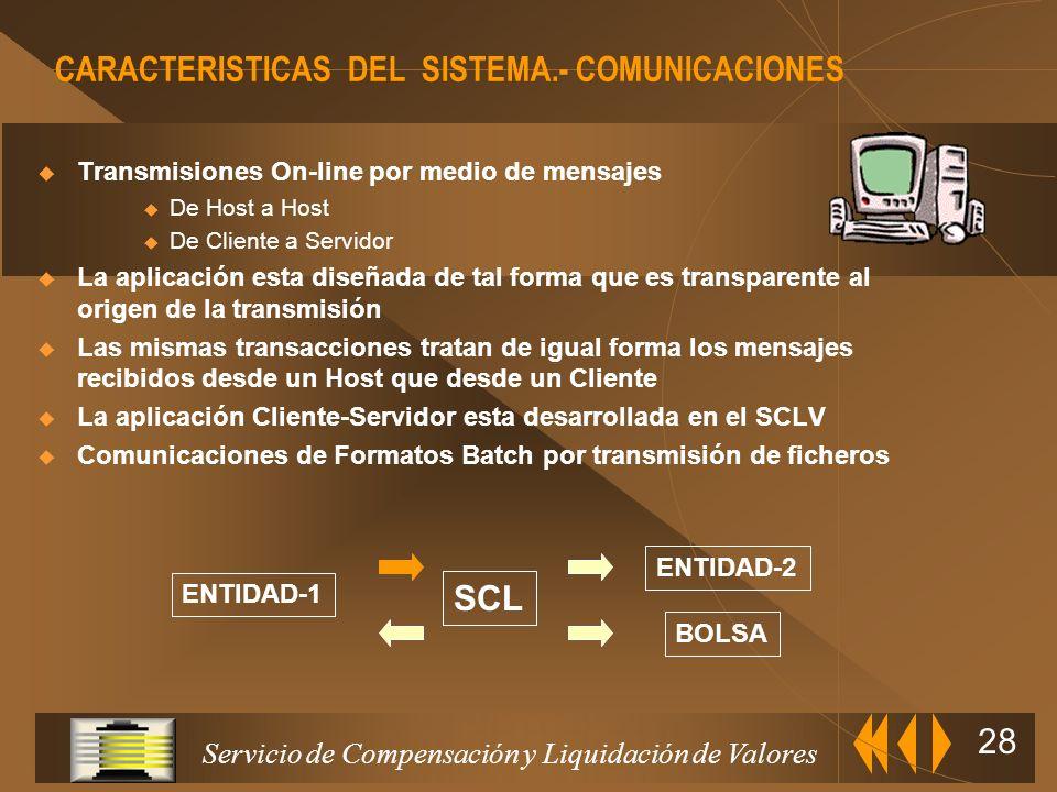 Servicio de Compensación y Liquidación de Valores 27 CARACTERISTICAS DEL SISTEMA.- DATOS Nomenclatura standard Facilita el conocimiento de pertenencia