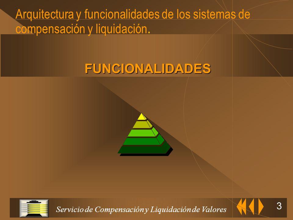 Servicio de Compensación y Liquidación de Valores 3 Arquitectura y funcionalidades de los sistemas de compensación y liquidación.