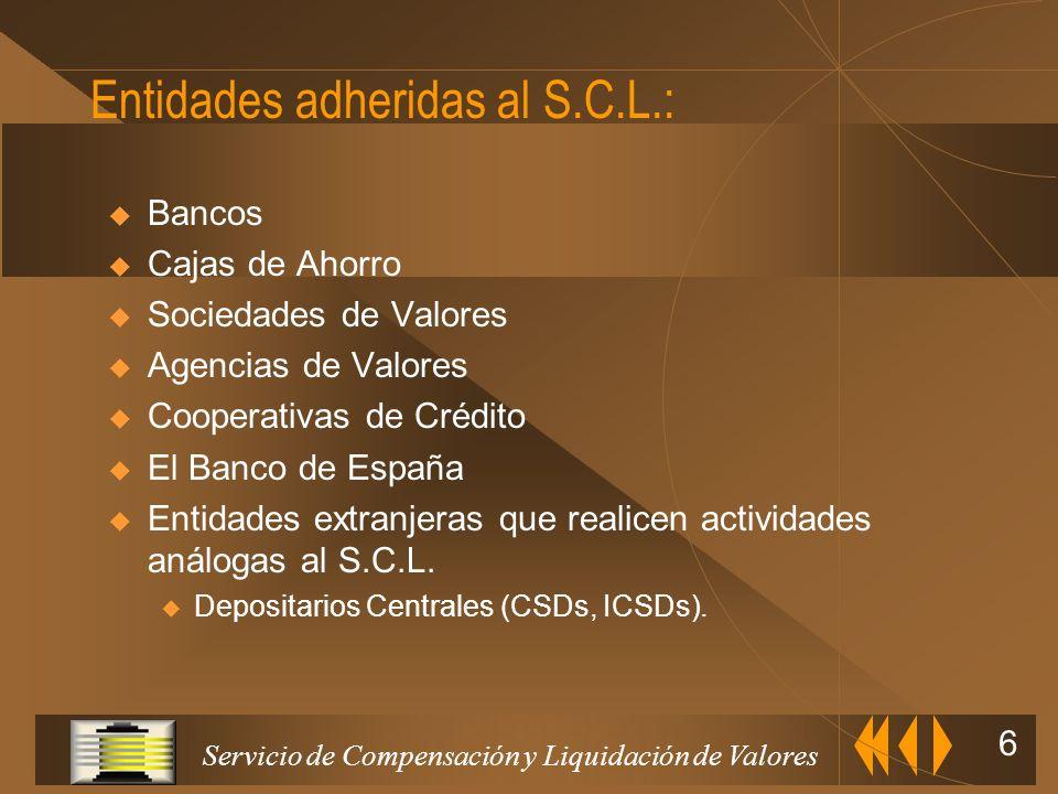 Servicio de Compensación y Liquidación de Valores 5 S.C.L.V. Bolsas de valores Banco de España Organismo Supervisor Contratación Liquidación de efecti