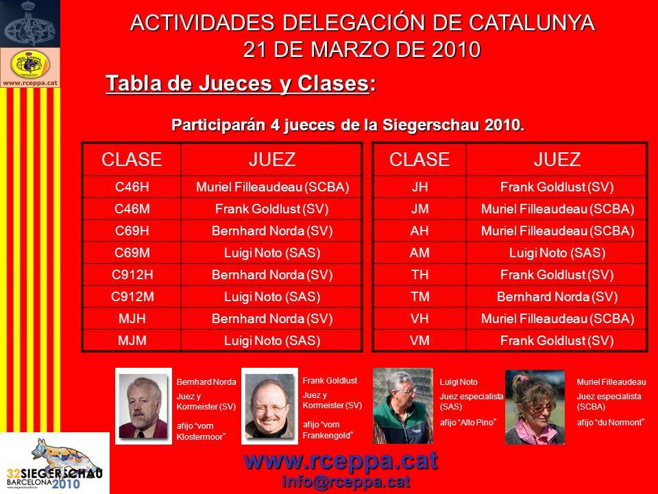 www.rceppa.cat info@rceppa.cat Tabla de Jueces y Clases: Participarán 4 jueces de la Siegerschau 2010. CLASEJUEZ C46HMuriel Filleaudeau (SCBA) C46MFra