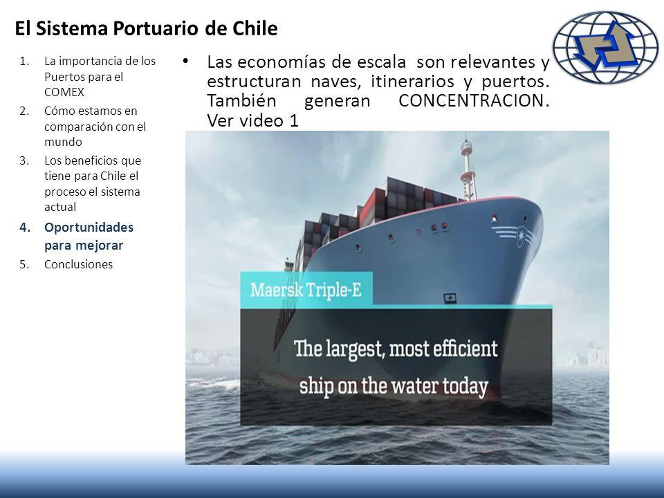 El Sistema Portuario de Chile Las economías de escala son relevantes y estructuran naves, itinerarios y puertos. También generan CONCENTRACION. Ver vi