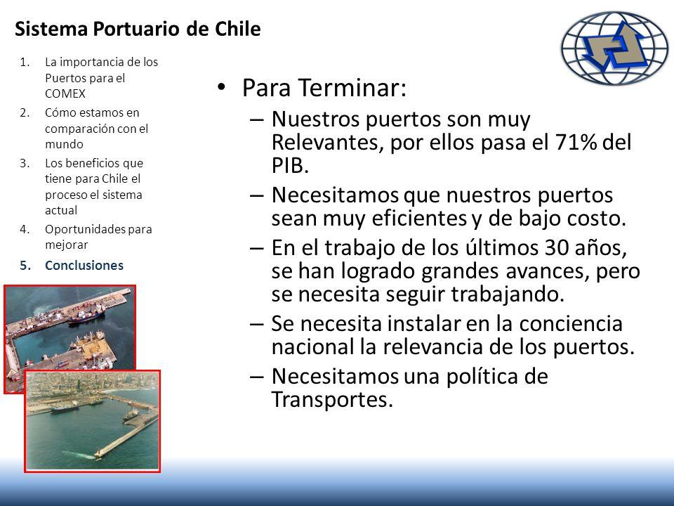 Para Terminar: – Nuestros puertos son muy Relevantes, por ellos pasa el 71% del PIB. – Necesitamos que nuestros puertos sean muy eficientes y de bajo