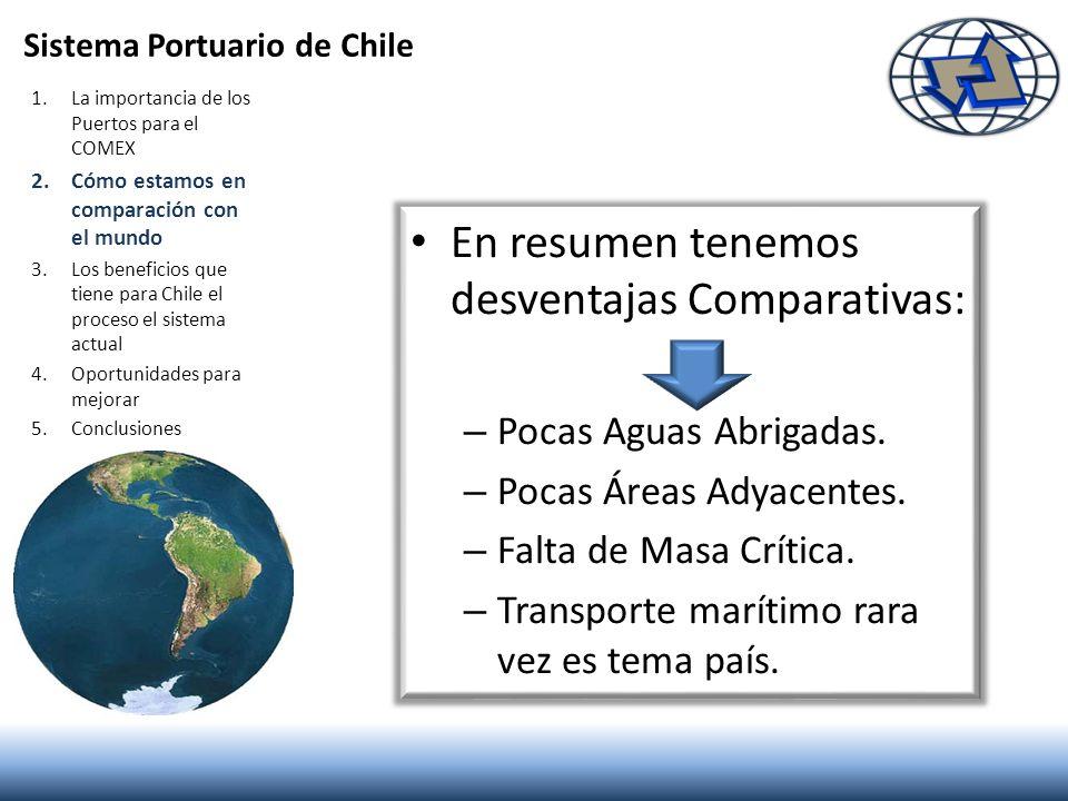 Sistema Portuario de Chile 1.La importancia de los Puertos para el COMEX 2.Cómo estamos en comparación con el mundo 3.Los beneficios que tiene para Ch