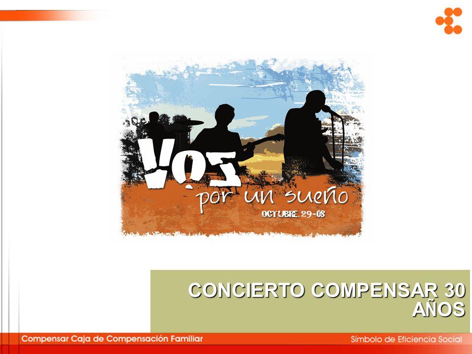 Objetivo General CONCIERTO COMPENSAR 30 A Ñ OS Desarrollar y poner en escena un espectáculo para los 30 años de Compensar, que sea coherente con su misión, con su historia y con sus orgullos.