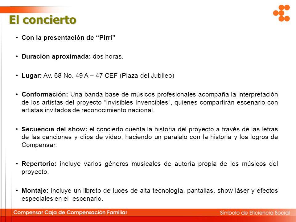 El concierto Con la presentación de Pirri Duración aproximada: dos horas. Lugar: Av. 68 No. 49 A – 47 CEF (Plaza del Jubileo) Conformación: Una banda