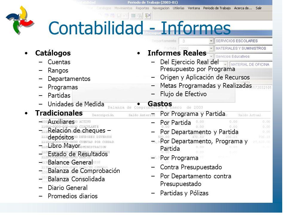 Contabilidad - Informes Catálogos –Cuentas –Rangos –Departamentos –Programas –Partidas –Unidades de Medida Tradicionales –Auxiliares –Relación de cheq