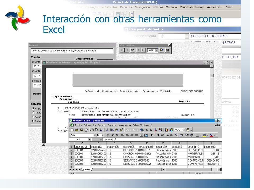 Interacción con otras herramientas como Excel