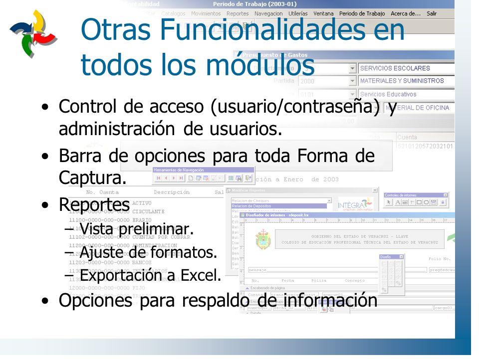 Control de acceso (usuario/contraseña) y administración de usuarios. Barra de opciones para toda Forma de Captura. Reportes –Vista preliminar. –Ajuste