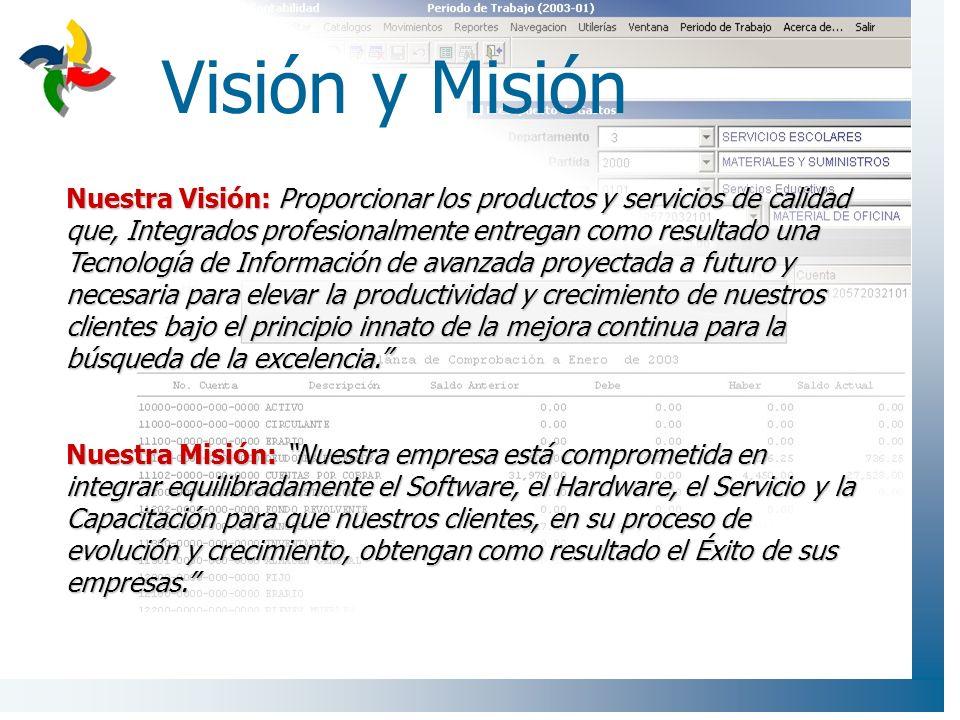 Visión y Misión Nuestra Misión: Nuestra empresa está comprometida en integrar equilibradamente el Software, el Hardware, el Servicio y la Capacitación para que nuestros clientes, en su proceso de evolución y crecimiento, obtengan como resultado el Éxito de sus empresas.