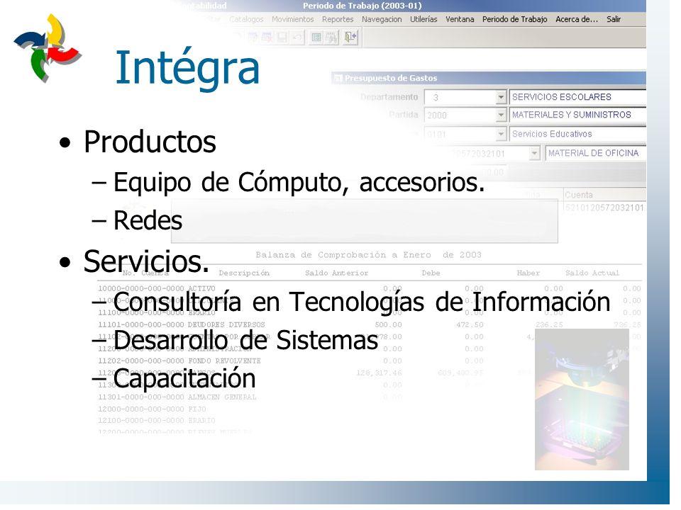 Intégra Productos –Equipo de Cómputo, accesorios. –Redes Servicios. –Consultoría en Tecnologías de Información –Desarrollo de Sistemas –Capacitación