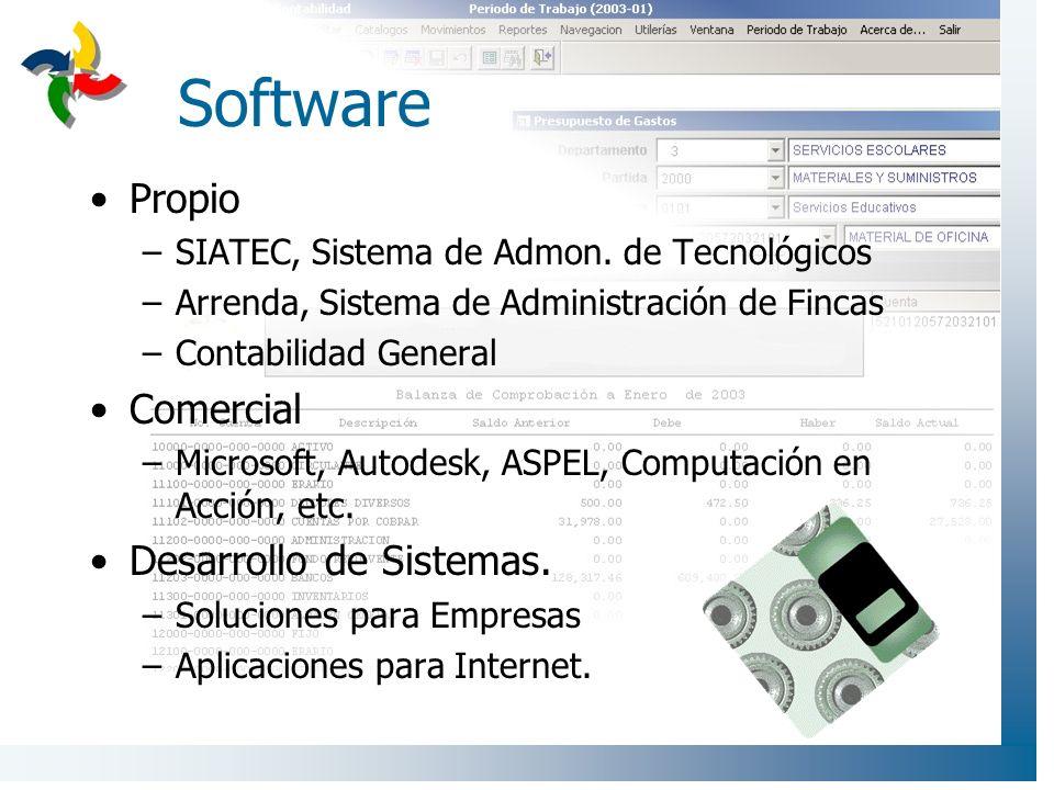 Software Propio –SIATEC, Sistema de Admon. de Tecnológicos –Arrenda, Sistema de Administración de Fincas –Contabilidad General Comercial –Microsoft, A