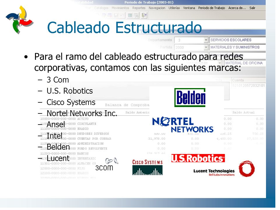 Cableado Estructurado Para el ramo del cableado estructurado para redes corporativas, contamos con las siguientes marcas: –3 Com –U.S. Robotics –Cisco