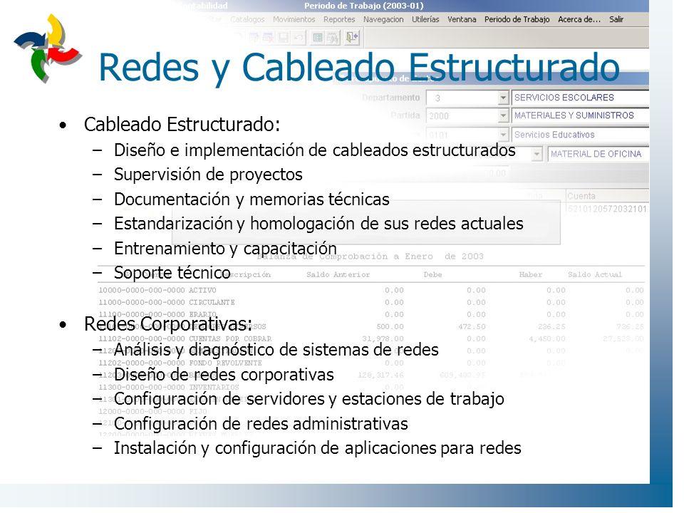 Redes y Cableado Estructurado Cableado Estructurado: –Diseño e implementación de cableados estructurados –Supervisión de proyectos –Documentación y me