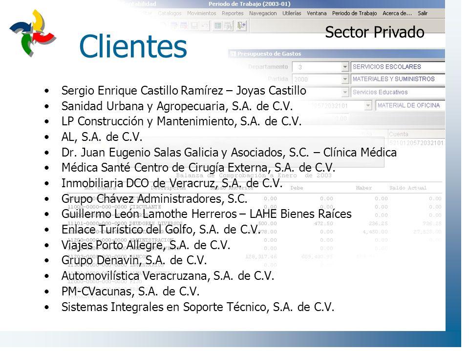 Clientes Sergio Enrique Castillo Ramírez – Joyas Castillo Sanidad Urbana y Agropecuaria, S.A. de C.V. LP Construcción y Mantenimiento, S.A. de C.V. AL