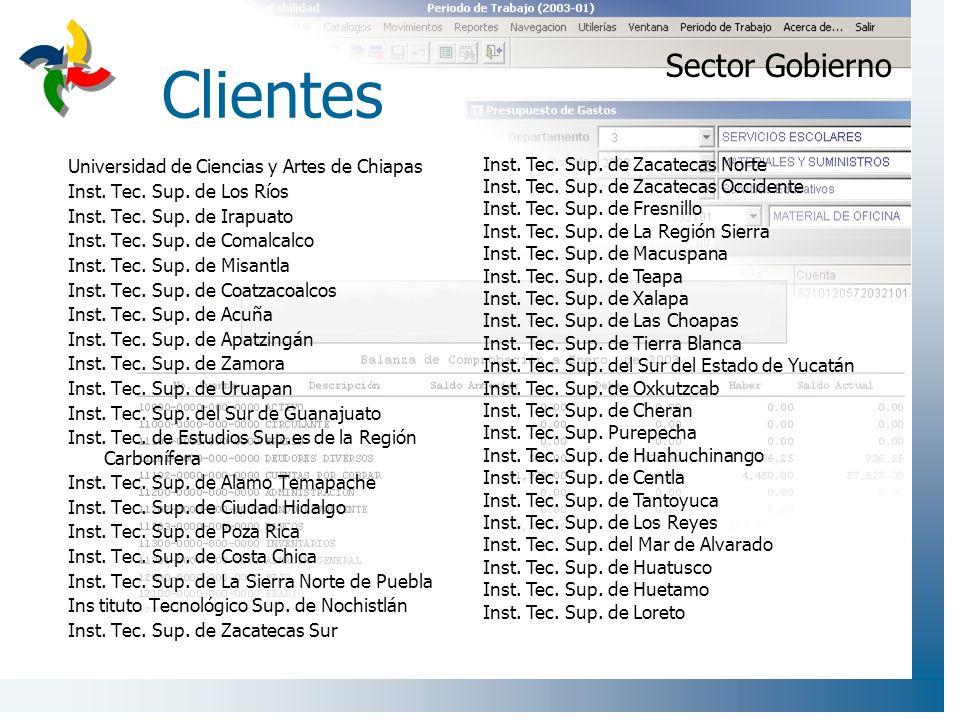 Clientes Universidad de Ciencias y Artes de Chiapas Inst. Tec. Sup. de Los Ríos Inst. Tec. Sup. de Irapuato Inst. Tec. Sup. de Comalcalco Inst. Tec. S