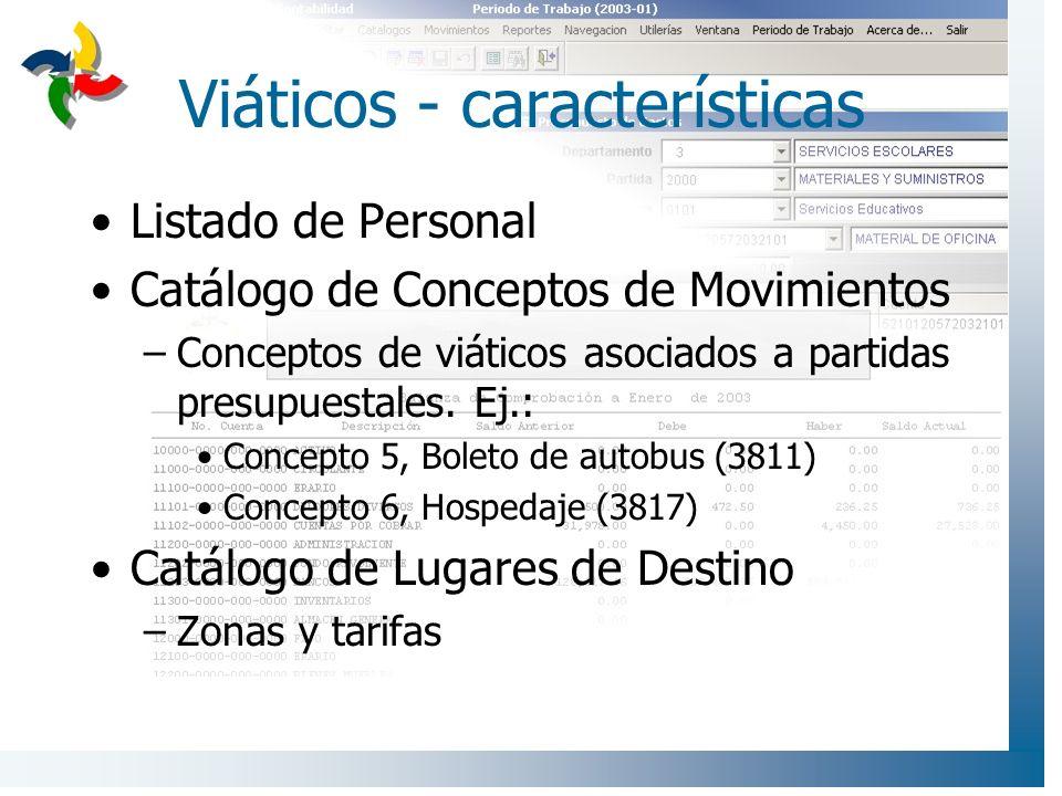 Viáticos - características Listado de Personal Catálogo de Conceptos de Movimientos –Conceptos de viáticos asociados a partidas presupuestales. Ej.: C