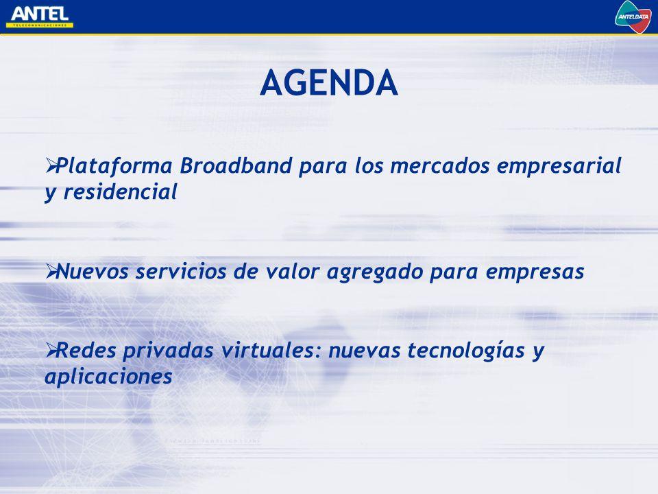 Plataforma Broadband para los mercados empresarial y residencial Nuevos servicios de valor agregado para empresas Redes privadas virtuales: nuevas tecnologías y aplicaciones AGENDA