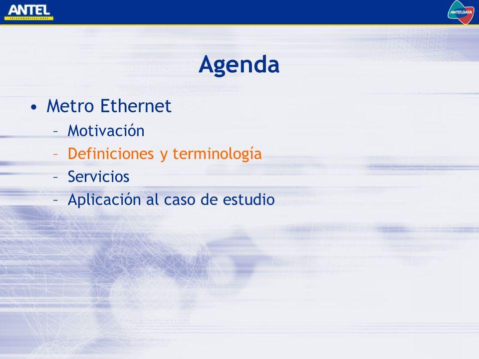 Agenda Metro Ethernet –Motivación –Definiciones y terminología –Servicios –Aplicación al caso de estudio
