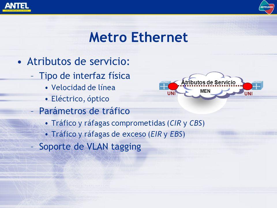 Metro Ethernet Atributos de servicio: –Tipo de interfaz física Velocidad de línea Eléctrico, óptico –Parámetros de tráfico Tráfico y ráfagas comprometidas (CIR y CBS) Tráfico y ráfagas de exceso (EIR y EBS) –Soporte de VLAN tagging UNI MEN UNI Atributos de Servicio