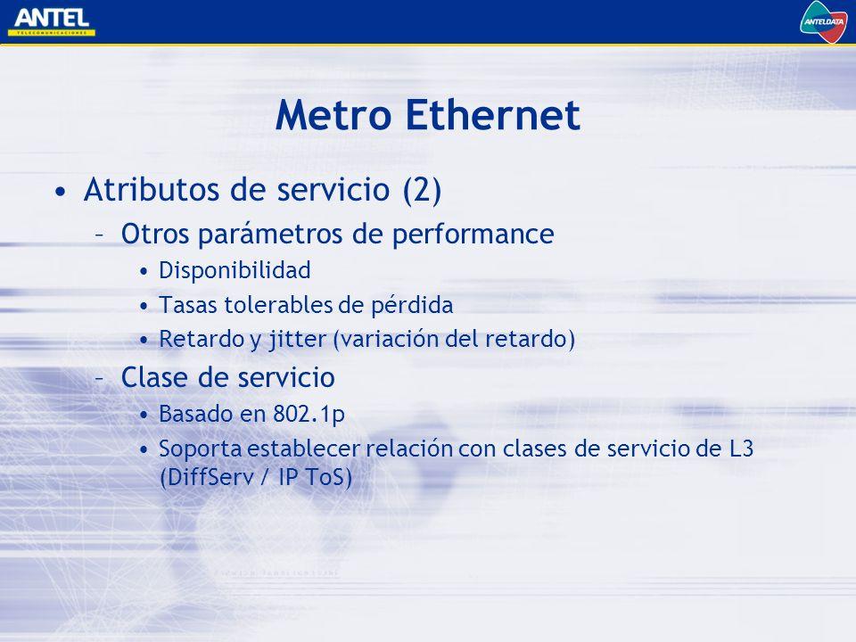 Metro Ethernet Atributos de servicio (2) –Otros parámetros de performance Disponibilidad Tasas tolerables de pérdida Retardo y jitter (variación del retardo) –Clase de servicio Basado en 802.1p Soporta establecer relación con clases de servicio de L3 (DiffServ / IP ToS)