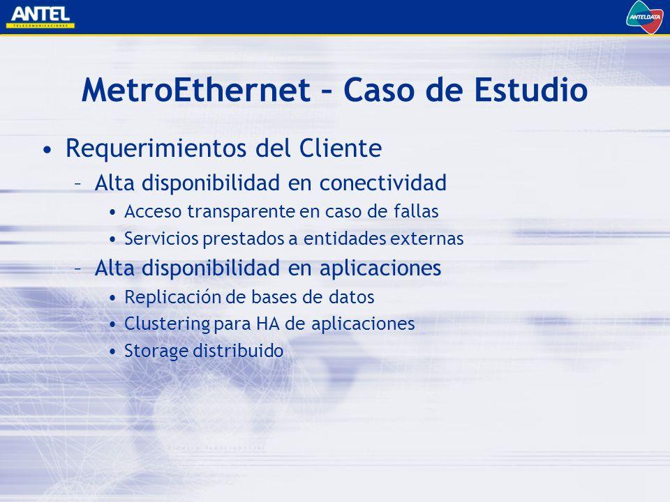 MetroEthernet – Caso de Estudio Requerimientos del Cliente –Alta disponibilidad en conectividad Acceso transparente en caso de fallas Servicios prestados a entidades externas –Alta disponibilidad en aplicaciones Replicación de bases de datos Clustering para HA de aplicaciones Storage distribuido